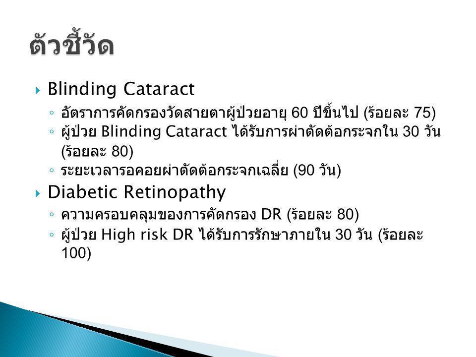 Blinding Cataract ◦ อัตราการคัดกรองวัดสายตาผู้ป่วยอายุ 60 ปีขึ้นไป ( ร้อยละ 75) ◦ ผู้ป่วย Blinding Cataract ได้รับการผ่าตัดต้อกระจกใน 30 วัน ( ร้อยล