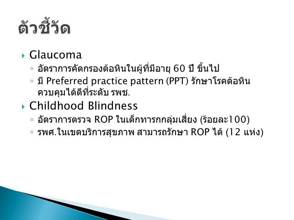  Glaucoma ◦ อัตราการคัดกรองต้อหินในผู้ที่มีอายุ 60 ปี ขึ้นไป ◦ มี Preferred practice pattern (PPT) รักษาโรคต้อหิน ควบคุมได้ดีที่ระดับ รพช.  Childhoo