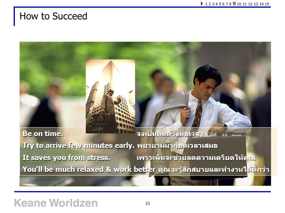10 How to Succeed Be on time. จงเป็นคนตรงต่อเวลา Try to arrive few minutes early. พยายามมาก่อนเวลาเสมอ It saves you from stress. เพราะมันจะช่วยลดความเ