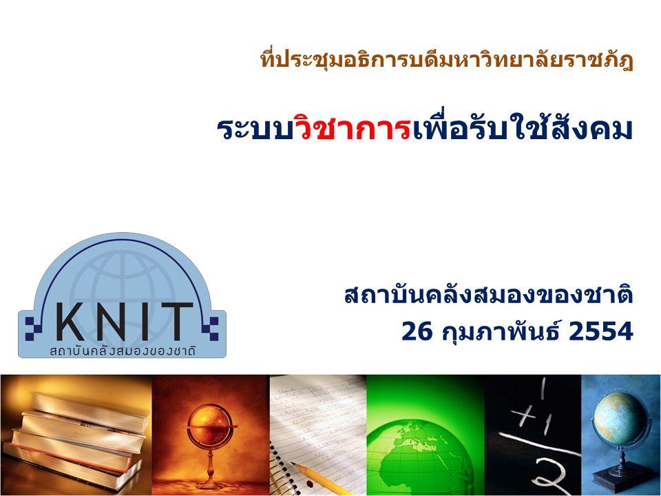 สถาบันคลังสมองของชาติ 26 กุมภาพันธ์ 2554 ที่ประชุมอธิการบดีมหาวิทยาลัยราชภัฎ ระบบวิชาการเพื่อรับใช้สังคม 1