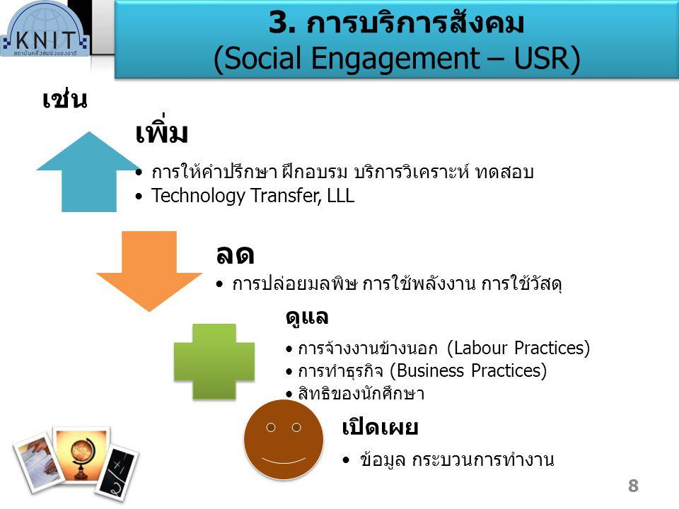 3. การบริการสังคม (Social Engagement – USR) เช่น เพิ่ม การให้คำปรึกษา ฝึกอบรม บริการวิเคราะห์ ทดสอบ Technology Transfer, LLL ลด การปล่อยมลพิษ การใช้พล