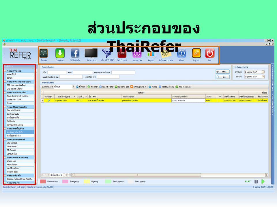 คำถามที่พบบ่อย Q : รหัสเข้า Thairefer เป็นรหัสอัน เดียวกับ HosXP ใช่หรือไม่ A : ไม่ใช่ จะใช้เป็นรหัสแต่ละแผนกแทน Q : ถ้าไม่ลงข้อมูลใน HosXP ให้ครบ สามารถ ส่งตัวใน Thairefer ได้หรือไม่ A : ส่งได้ แต่ข้อมูลส่วนใหญ่จะไม่ถูกดึงมา ผู้ส่งต้องกรอกเอง Q : ลงข้อมูลใน Thairefer ครบแล้ว ข้อมูลดังกล่าวจะ ถูกส่งไปบันทึก HosXP หรือไม่ A : ไม่ เพราะข้อมูลเดินแค่ทางเดียว จาก HosXP ไป Thairefer เท่านั้น