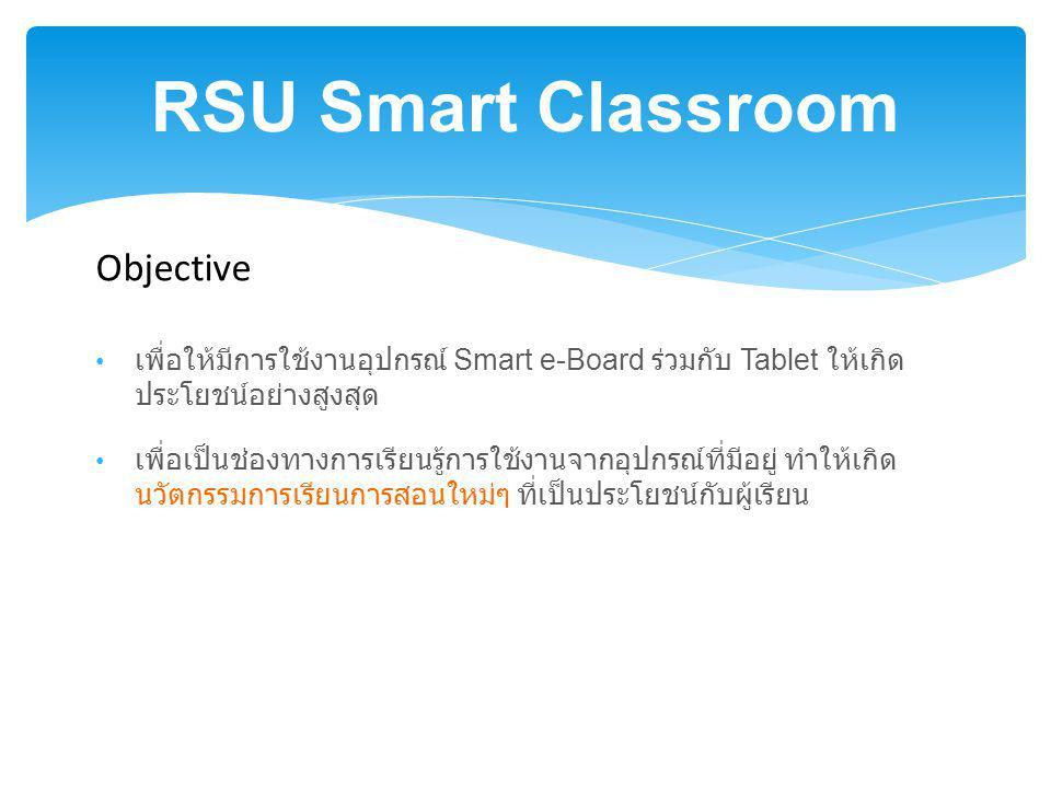 RSU Smart Classroom เพื่อให้มีการใช้งานอุปกรณ์ Smart e-Board ร่วมกับ Tablet ให้เกิด ประโยชน์อย่างสูงสุด เพื่อเป็นช่องทางการเรียนรู้การใช้งานจากอุปกรณ์ที่มีอยู่ ทำให้เกิด นวัตกรรมการเรียนการสอนใหม่ๆ ที่เป็นประโยชน์กับผู้เรียน Objective