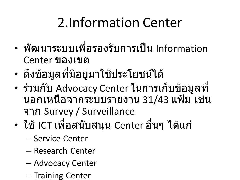 2.Information Center พัฒนาระบบเพื่อรองรับการเป็น Information Center ของเขต ดึงข้อมูลที่มีอยู่มาใช้ประโยชน์ได้ ร่วมกับ Advocacy Center ในการเก็บข้อมูลที่ นอกเหนือจากระบบรายงาน 31/43 แฟ้ม เช่น จาก Survey / Surveillance ใช้ ICT เพื่อสนับสนุน Center อื่นๆ ได้แก่ – Service Center – Research Center – Advocacy Center – Training Center