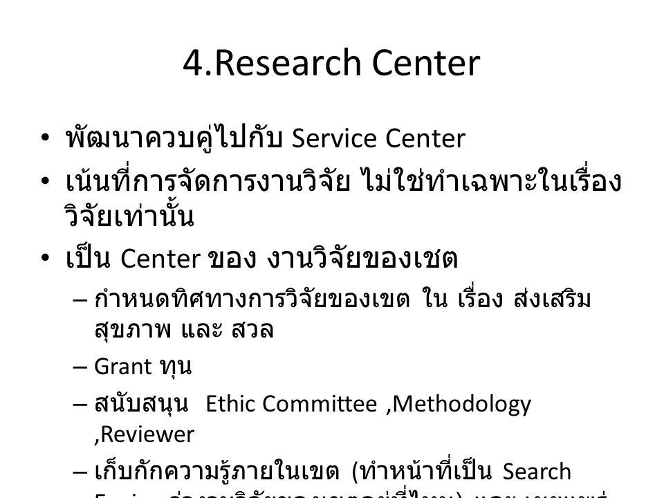 4.Research Center พัฒนาควบคู่ไปกับ Service Center เน้นที่การจัดการงานวิจัย ไม่ใช่ทำเฉพาะในเรื่อง วิจัยเท่านั้น เป็น Center ของ งานวิจัยของเชต – กำหนดทิศทางการวิจัยของเขต ใน เรื่อง ส่งเสริม สุขภาพ และ สวล – Grant ทุน – สนับสนุน Ethic Committee,Methodology,Reviewer – เก็บกักความรู้ภายในเขต ( ทำหน้าที่เป็น Search Engine ว่างานวิจัยของเขตอยู่ที่ไหน ) และ เผยแพร่