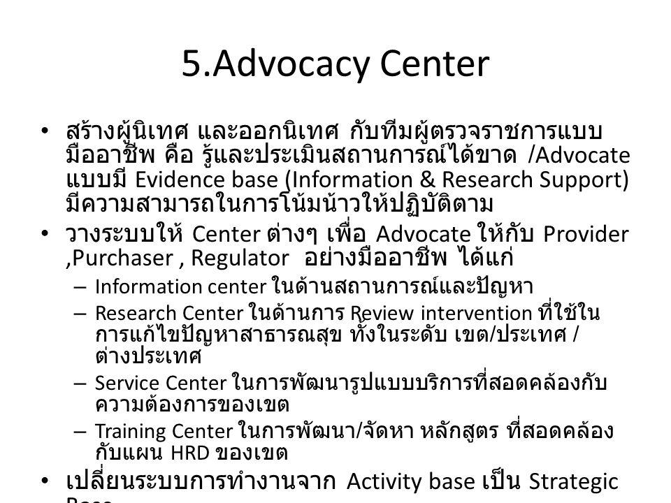 5.Advocacy Center สร้างผู้นิเทศ และออกนิเทศ กับทีมผู้ตรวจราชการแบบ มืออาชีพ คือ รู้และประเมินสถานการณ์ได้ขาด /Advocate แบบมี Evidence base (Information & Research Support) มีความสามารถในการโน้มน้าวให้ปฏิบัติตาม วางระบบให้ Center ต่างๆ เพื่อ Advocate ให้กับ Provider,Purchaser, Regulator อย่างมืออาชีพ ได้แก่ – Information center ในด้านสถานการณ์และปัญหา – Research Center ในด้านการ Review intervention ที่ใช้ใน การแก้ไขปัญหาสาธารณสุข ทั้งในระดับ เขต / ประเทศ / ต่างประเทศ – Service Center ในการพัฒนารูปแบบบริการที่สอดคล้องกับ ความต้องการของเขต – Training Center ในการพัฒนา / จัดหา หลักสูตร ที่สอดคล้อง กับแผน HRD ของเขต เปลี่ยนระบบการทำงานจาก Activity base เป็น Strategic Base