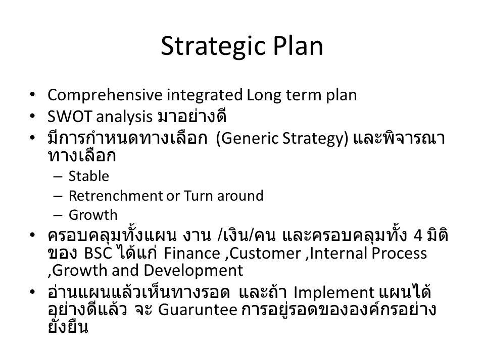 Strategic Plan Comprehensive integrated Long term plan SWOT analysis มาอย่างดี มีการกำหนดทางเลือก (Generic Strategy) และพิจารณา ทางเลือก – Stable – Retrenchment or Turn around – Growth ครอบคลุมทั้งแผน งาน / เงิน / คน และครอบคลุมทั้ง 4 มิติ ของ BSC ได้แก่ Finance,Customer,Internal Process,Growth and Development อ่านแผนแล้วเห็นทางรอด และถ้า Implement แผนได้ อย่างดีแล้ว จะ Guaruntee การอยู่รอดขององค์กรอย่าง ยั่งยืน