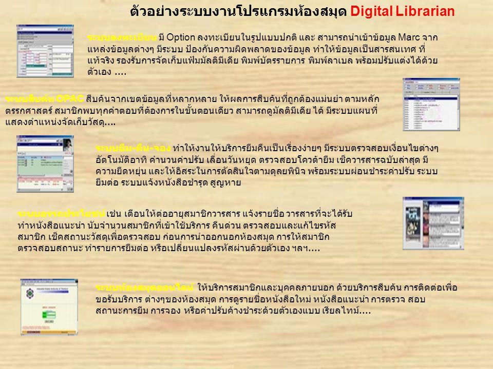 ขอต้อนรับสู่การนำเสนองาน ตัวอย่างระบบงานโปรแกรมห้องสมุด Digital Librarian ระบบลงทะเบียน มี Option ลงทะเบียนในรูปแบบปกติ และ สามารถนำเข้าข้อมูล Marc จา