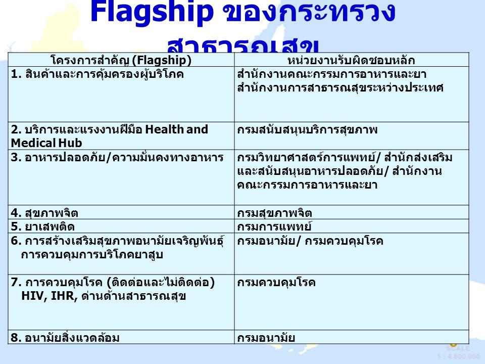 Flagship ของกระทรวง สาธารณสุข ( ต่อ ) 9 โครงการสำคัญ (Flagship) หน่วยงานรับผิดชอบหลัก 9.