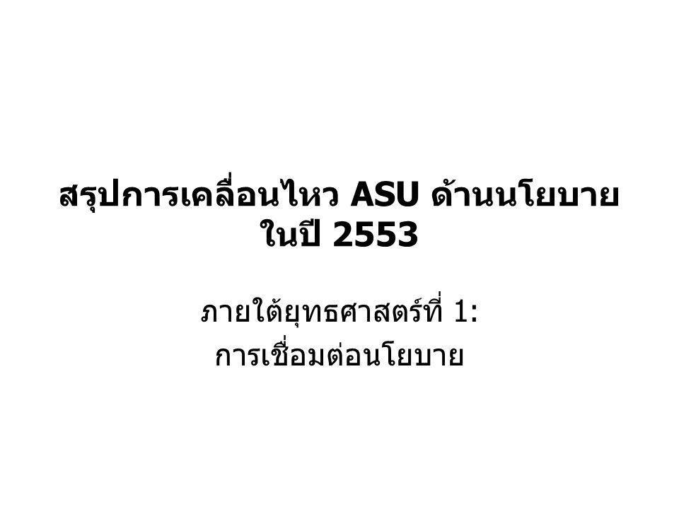 สรุปการเคลื่อนไหว ASU ด้านนโยบาย ในปี 2553 ภายใต้ยุทธศาสตร์ที่ 1: การเชื่อมต่อนโยบาย
