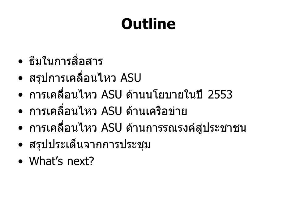 Outline ธีมในการสื่อสาร สรุปการเคลื่อนไหว ASU การเคลื่อนไหว ASU ด้านนโยบายในปี 2553 การเคลื่อนไหว ASU ด้านเครือข่าย การเคลื่อนไหว ASU ด้านการรณรงค์สู่ประชาชน สรุปประเด็นจากการประชุม What's next?