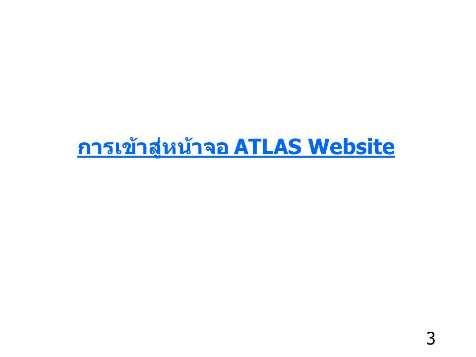 https://www.myatlas.asia/th เมื่อท่านเข้าสู่หน้าจอ Atlas ท่านจะพบหน้าจอการเข้าสู่ระบบ (Login) ท่านสามารถเข้าสู่ระบบ Atlas โดยพิมพ์ชื่อ https://www.myatlas.asia/th แล้วคลิกปุ่ม Go ดังแสดงในรูปด้านล่างนี้ 4