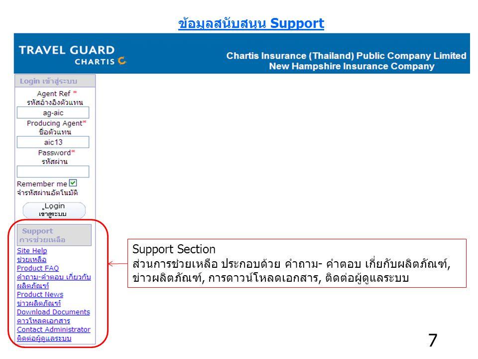 ข้อมูลสนับสนุน Support Support Section ส่วนการช่วยเหลือ ประกอบด้วย คำถาม- คำตอบ เกี่ยกับผลิตภัณฑ์, ข่าวผลิตภัณฑ์, การดาวน์โหลดเอกสาร, ติดต่อผู้ดูแลระบบ 7
