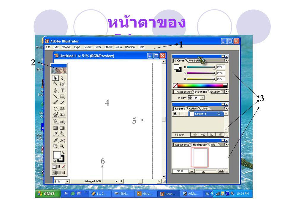 หน้าตาของ โปรแกรม 2 3 1 4 5 6