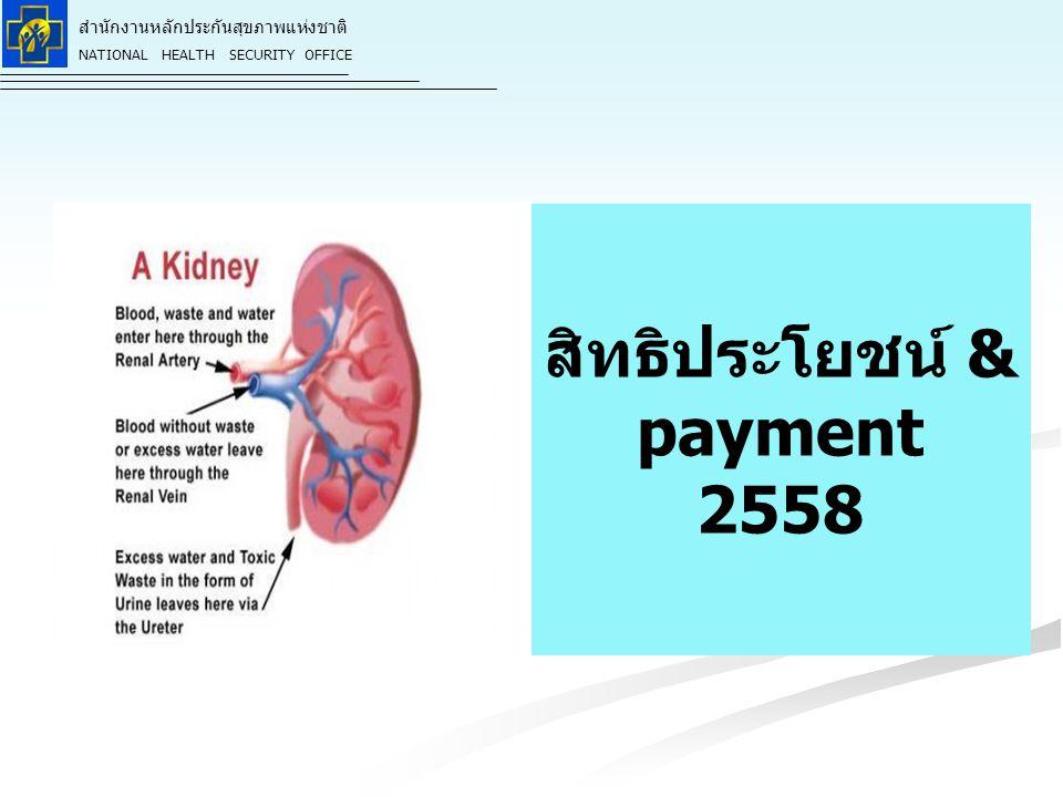 สำนักงานหลักประกันสุขภาพแห่งชาติ NATIONAL HEALTH SECURITY OFFICE สิทธิประโยชน์ & payment 2558