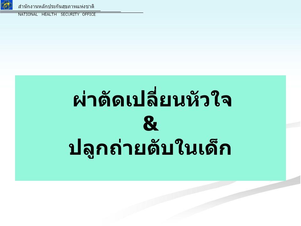 สำนักงานหลักประกันสุขภาพแห่งชาติ NATIONAL HEALTH SECURITY OFFICE สำนักงานหลักประกันสุขภาพแห่งชาติ NATIONAL HEALTH SECURITY OFFICE 10 เหมือนปี 2557 - - ค่าใช้จ่ายในการให้บริการผ่าตัด จะจ่ายชดเชยให้แก่หน่วยบริการตั้งแต่ขั้นตอนการ จัดเตรียม การผ่าตัดเปลี่ยนหัวใจ และการดูแลหลังผ่าตัด เป็นไปตามแบบแผนการรักษา ( Protocol ) ของสมาคม ปลูกถ่ายอวัยวะแห่งประเทศไทยเสนอ ค่าใช้จ่ายหลังการผ่าตัด ค่ายากดภูมิคุ้มกัน การจ่ายค่าบริการ