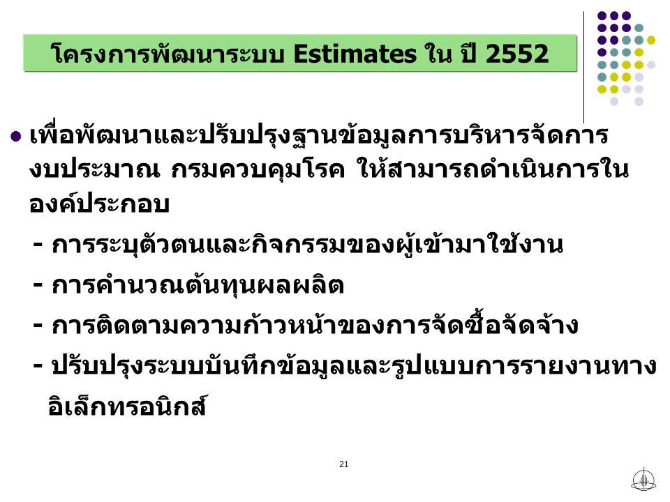 21 โครงการพัฒนาระบบ Estimates ใน ปี 2552 เพื่อพัฒนาและปรับปรุงฐานข้อมูลการบริหารจัดการ งบประมาณ กรมควบคุมโรค ให้สามารถดำเนินการใน องค์ประกอบ - การระบุตัวตนและกิจกรรมของผู้เข้ามาใช้งาน - การคำนวณต้นทุนผลผลิต - การติดตามความก้าวหน้าของการจัดซื้อจัดจ้าง - ปรับปรุงระบบบันทึกข้อมูลและรูปแบบการรายงานทาง อิเล็กทรอนิกส์