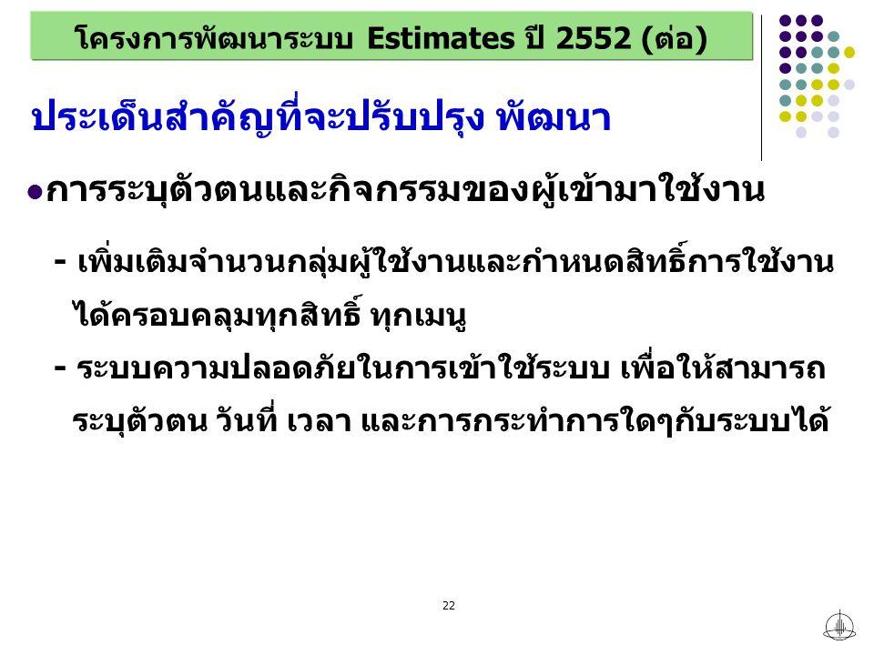 22 โครงการพัฒนาระบบ Estimates ปี 2552 (ต่อ) การระบุตัวตนและกิจกรรมของผู้เข้ามาใช้งาน - เพิ่มเติมจำนวนกลุ่มผู้ใช้งานและกำหนดสิทธิ์การใช้งาน ได้ครอบคลุมทุกสิทธิ์ ทุกเมนู - ระบบความปลอดภัยในการเข้าใช้ระบบ เพื่อให้สามารถ ระบุตัวตน วันที่ เวลา และการกระทำการใดๆกับระบบได้ ประเด็นสำคัญที่จะปรับปรุง พัฒนา
