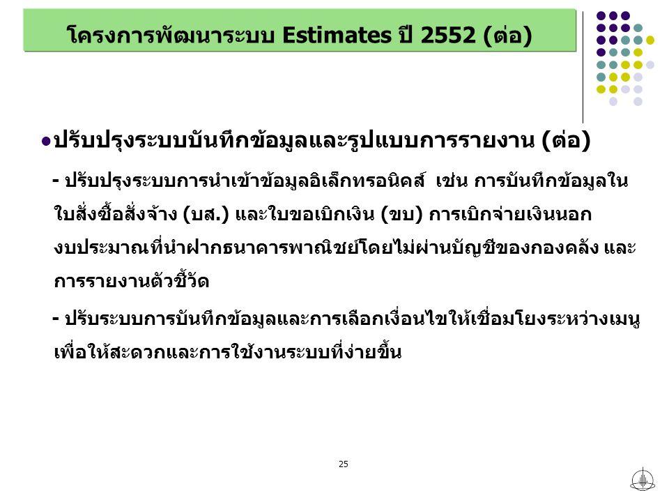 25 โครงการพัฒนาระบบ Estimates ปี 2552 (ต่อ) ปรับปรุงระบบบันทึกข้อมูลและรูปแบบการรายงาน (ต่อ) - ปรับปรุงระบบการนำเข้าข้อมูลอิเล็กทรอนิคส์ เช่น การบันทึกข้อมูลใน ใบสั่งซื้อสั่งจ้าง (บส.) และใบขอเบิกเงิน (ขบ) การเบิกจ่ายเงินนอก งบประมาณที่นำฝากธนาคารพาณิชย์โดยไม่ผ่านบัญชีของกองคลัง และ การรายงานตัวชี้วัด - ปรับระบบการบันทึกข้อมูลและการเลือกเงื่อนไขให้เชื่อมโยงระหว่างเมนู เพื่อให้สะดวกและการใช้งานระบบที่ง่ายขึ้น