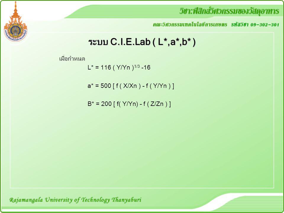 เมื่อกำหนด L* = 116 ( Y/Yn ) 1/3 -16 a* = 500 [ f ( X/Xn ) – f ( Y/Yn ) ] B* = 200 [ f( Y/Yn) – f ( Z/Zn ) ] ระบบ C.I.E.Lab ( L*,a*,b* )