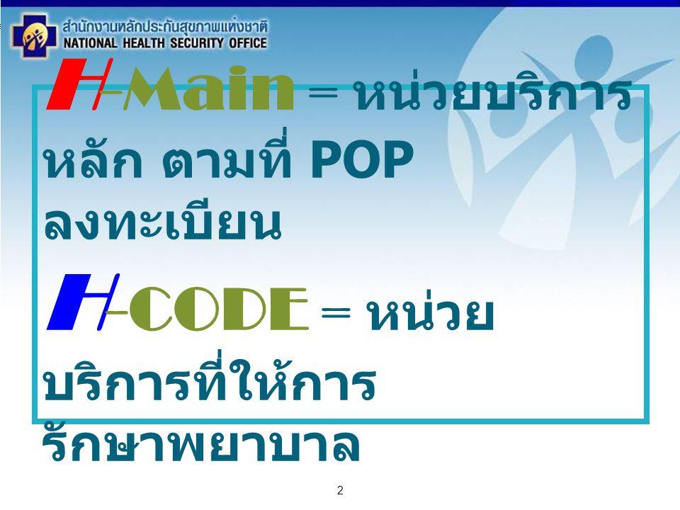 สำนักงานหลักประกันสุขภาพแห่งชาติ NATIONAL HEALTH SECURITY OFFICE สำนักงานหลักประกันสุขภาพแห่งชาติ NATIONAL HEALTH SECURITY OFFICE 2 H -Main = หน่วยบริ