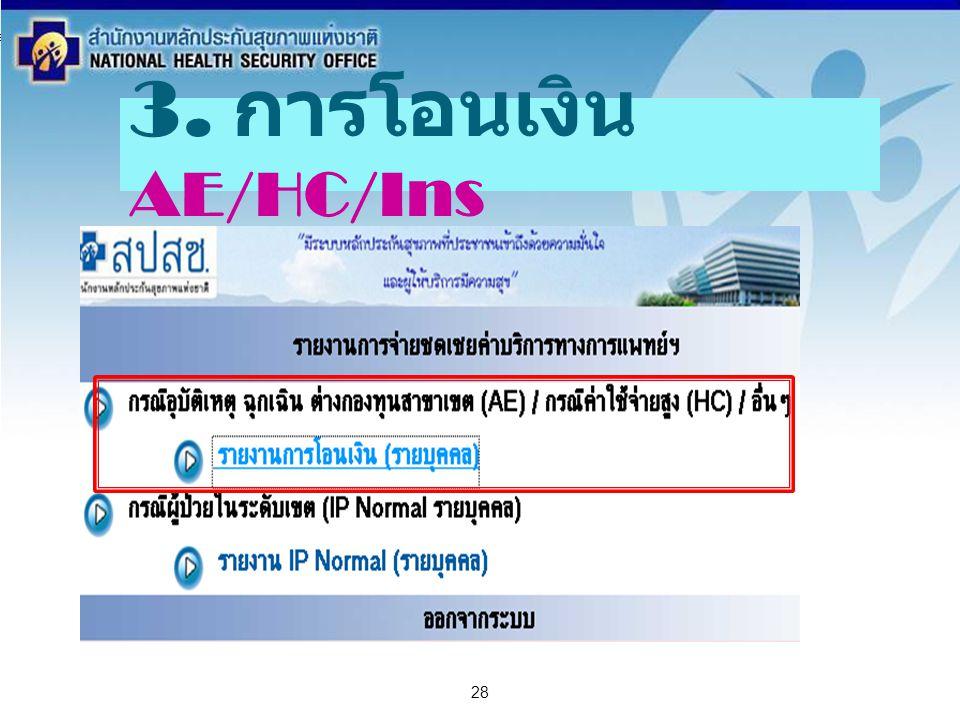 สำนักงานหลักประกันสุขภาพแห่งชาติ NATIONAL HEALTH SECURITY OFFICE สำนักงานหลักประกันสุขภาพแห่งชาติ NATIONAL HEALTH SECURITY OFFICE 28 3. การโอนเงิน AE/