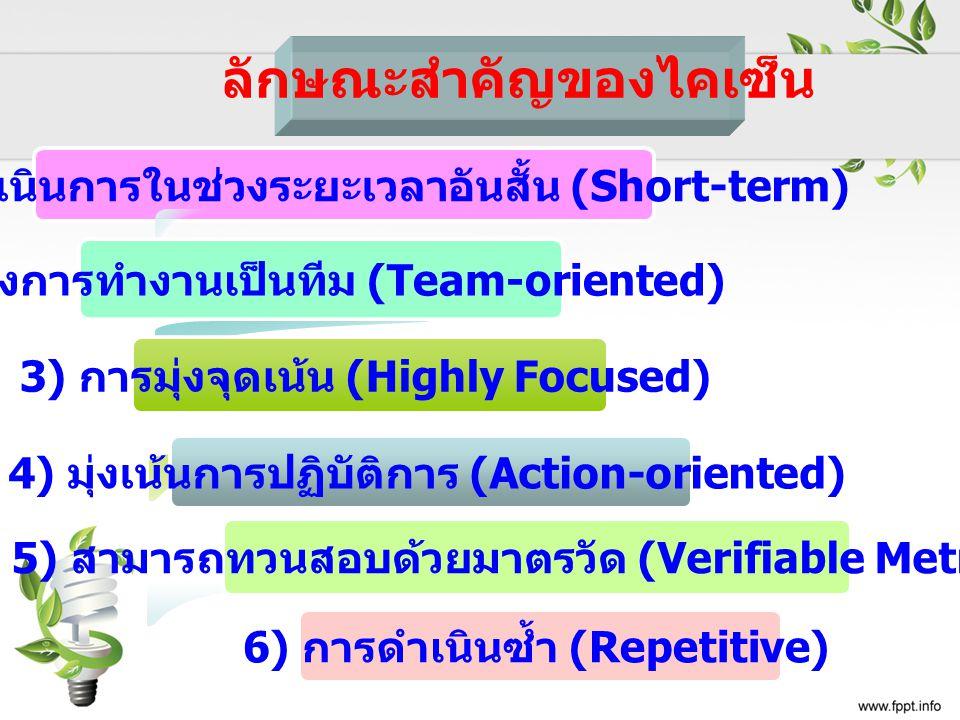 1) มุ่งดำเนินการในช่วงระยะเวลาอันสั้น (Short-term) 2) มุ่งการทำงานเป็นทีม (Team-oriented) 3) การมุ่งจุดเน้น (Highly Focused) ลักษณะสำคัญของไคเซ็น 4) ม