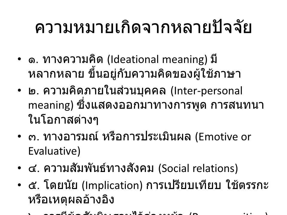 ความหมายเกิดจากหลายปัจจัย ๑. ทางความคิด (Ideational meaning) มี หลากหลาย ขึ้นอยู่กับความคิดของผู้ใช้ภาษา ๒. ความคิดภายในส่วนบุคคล (Inter-personal mean