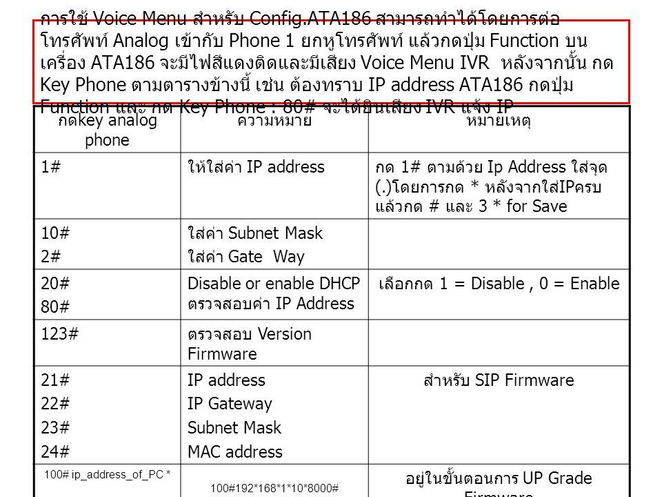 การใช้ Voice Menu สำหรับ Config.ATA186 สามารถทำได้โดยการต่อ โทรศัพท์ Analog เข้ากับ Phone 1 ยกหูโทรศัพท์ แล้วกดปุ่ม Function บน เครื่อง ATA186 จะมีไฟสีแดงติดและมีเสียง Voice Menu IVR หลังจากนั้น กด Key Phone ตามตารางข้างนี้ เช่น ต้องทราบ IP address ATA186 กดปุ่ม Function และ กด Key Phone : 80# จะได้ยินเสียง IVR แจ้ง IP กด key analog phone ความหมายหมายเหตุ 1# ให้ใส่ค่า IP address กด 1# ตามด้วย Ip Address ใส่จุด (.) โดยการกด * หลังจากใส่ IP ครบ แล้วกด # และ 3 * for Save 10# 2# ใส่ค่า Subnet Mask ใส่ค่า Gate Way 20# 80# Disable or enable DHCP ตรวจสอบค่า IP Address เลือกกด 1 = Disable, 0 = Enable 123# ตรวจสอบ Version Firmware 21# 22# 23# 24# IP address IP Gateway Subnet Mask MAC address สำหรับ SIP Firmware 100# ip_address_of_PC * port # 100#192*168*1*10*8000# อยู่ในขั้นตอนการ UP Grade Firmware 322873738#3*Clear Memory (Voice Menu ศึกษาเพิ่มเติมได้จาก คู่มือ )