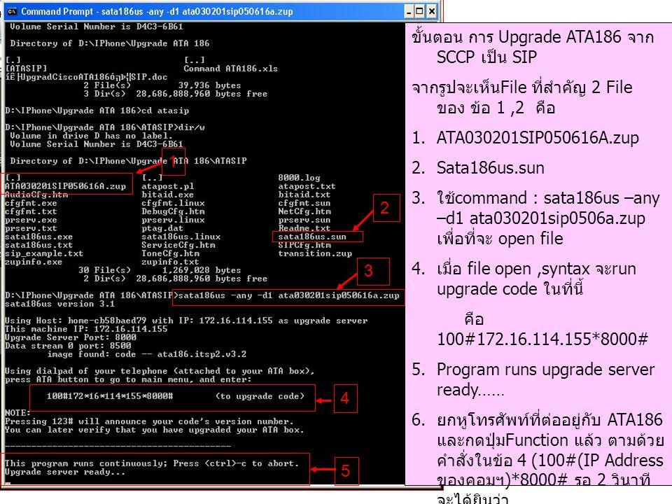 ขั้นตอน การ Upgrade ATA186 จาก SCCP เป็น SIP จากรูปจะเห็น File ที่สำคัญ 2 File ของ ข้อ 1,2 คือ 1.ATA030201SIP050616A.zup 2.Sata186us.sun 3.