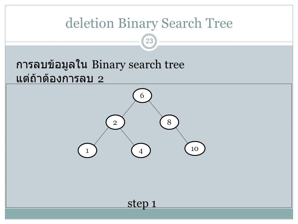 deletion Binary Search Tree 23 การลบข้อมูลใน Binary search tree แต่ถ้าต้องการลบ 2 6 step 1 28 14 10