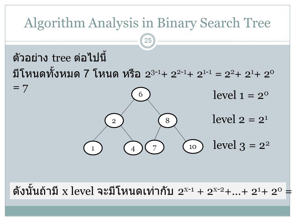 Algorithm Analysis in Binary Search Tree 25 ตัวอย่าง tree ต่อไปนี้ มีโหนดทั้งหมด 7 โหนด หรือ 2 3-1 + 2 2-1 + 2 1-1 = 2 2 + 2 1 + 2 0 = 7 6 28 14 10 7