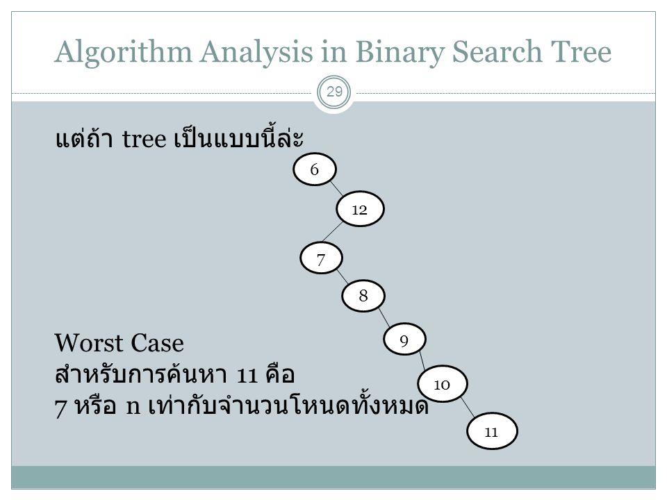 Algorithm Analysis in Binary Search Tree 29 แต่ถ้า tree เป็นแบบนี้ล่ะ 6 12 7 8 9 10 11 Worst Case สำหรับการค้นหา 11 คือ 7 หรือ n เท่ากับจำนวนโหนดทั้งห