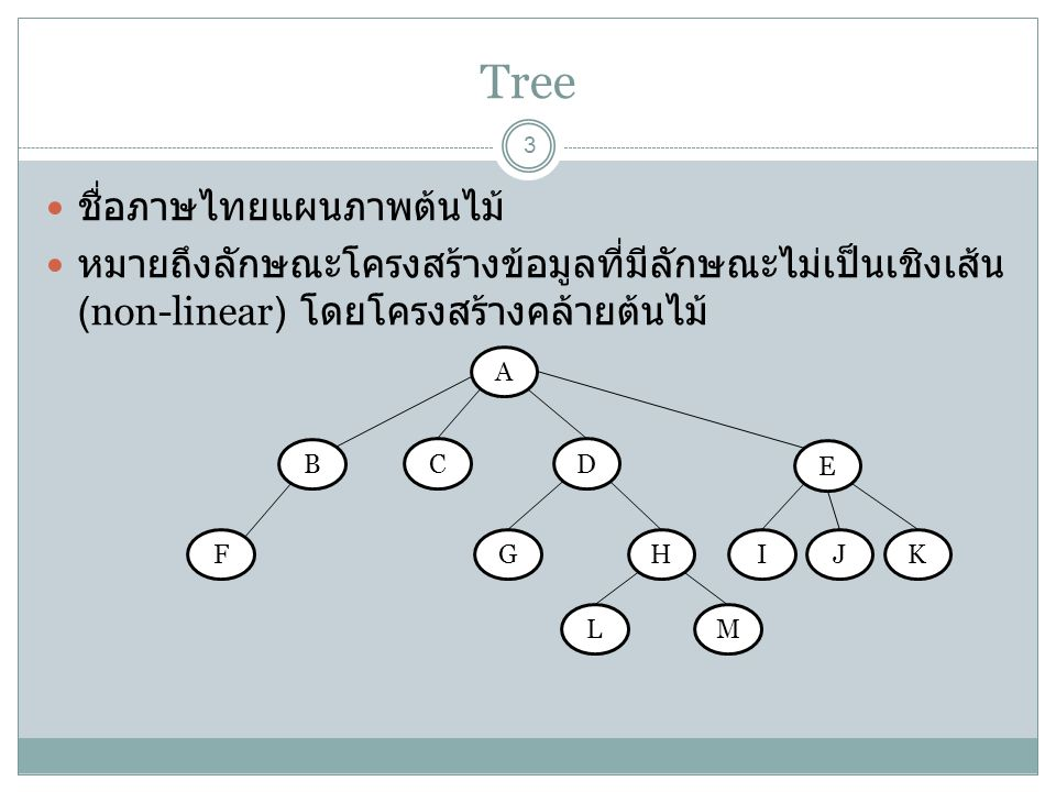 Tree Terminology 4 โหนด (node) คือข้อมูลในแต่ละจุด เช่น (A) (B) (C) (D) … (M) รูท (root) หมายถึงโหนดบนสุด (A) ทรีย่อย (subtree) หมายถึง โหนดลูกทั้งหมด กิ่ง (edge/branch) หมายถึงเส้นเชื่อมระหว่างโหนด โหนดพ่อ (parent node) และโหนดลูก (child node) หมายถึง โหนดที่ให้มีกิ่งเชื่อมกันโดยโหนดพ่ออยู่ด้านบนโหนดลูก เช่น parent(A) ของ child(B) child(C) child(D) และ parent(B) ของ child(F) ใบ (leave, leave node) หมายถึงโหนดที่ไม่มีลูก (F) (G) (L) โหนดกิ่ง (edge node, branch node) เป็นโหนดที่มีลูก (B) (D) โหนดพี่น้อง (sibling node) หมายถึงโหนดที่มีโหนดพ่อเดียวกัน (L) กับ (M) หรือ (C) กับ (D)