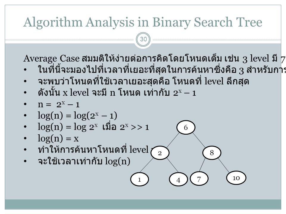 Algorithm Analysis in Binary Search Tree 30 Average Case สมมติให้ง่ายต่อการคิดโดยโหนดเต็ม เช่น 3 level มี 7 โหนด ในที่นี้จะมองไปที่เวลาที่เยอะที่สุดใน