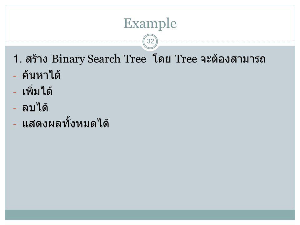 Example 32 1. สร้าง Binary Search Tree โดย Tree จะต้องสามารถ - ค้นหาได้ - เพิ่มได้ - ลบได้ - แสดงผลทั้งหมดได้