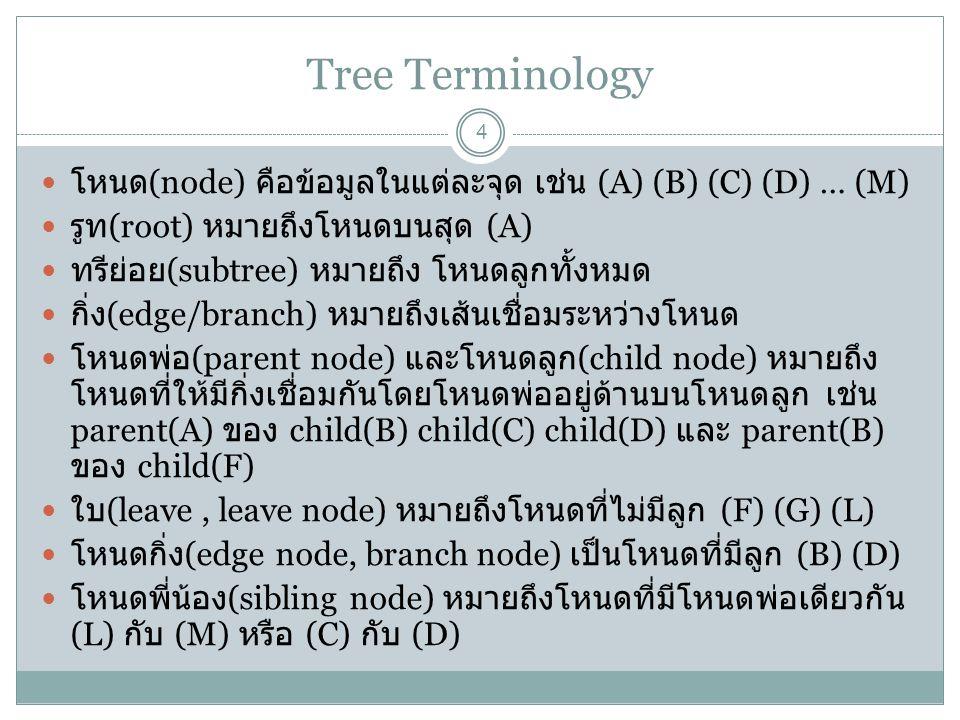 Tree Terminology 5 degree หมายถึงจำนวนลูกของโหนด เช่น (A) มี 4 หรือ (D) มี 2 ancestor node หมายถึงโหนดที่มาก่อนโหนดอื่นๆ เช่น (A) เป็น ancestor (B) (C) (D) หรือ (D) เป็น ancestor (E) (L) direct ancestor node หมายถึงโหนดที่มาก่อนโหนดอื่นๆ 1 โหนด เช่น (A) กับ (B) หรือ (D) กับ (E) decendant node หมายถึงโหนดที่มาหลังโหนดอื่นๆ เช่น (D) เป็น decendant ของ (A) (B) (C) direct decendant node หมายถึงโหนดที่ตามหลังโหนดอื่นๆ 1 โหนด เช่น (D) กับ (C) level หมายถึงระดับของโหนดเช่น root เป็น 0 และ (B) (C) (D) (E) เป็น 1 height/depth หมายถึงระดับความสูงหรือความลึกของ root กับ node ล่างสุด จากตัวอย่างก่อนหน้า คือ 4 path หมายถึงเส้นทางเชื่อมต่อระหว่าง node เช่น (A),(B),(F) หรือ (A),(D),(H) หรือ (A),(D),(H),(L) length หมายถึงความยาวของ edge ในเส้นทาง เช่น (A) ถึง (M) เท่ากับ 3