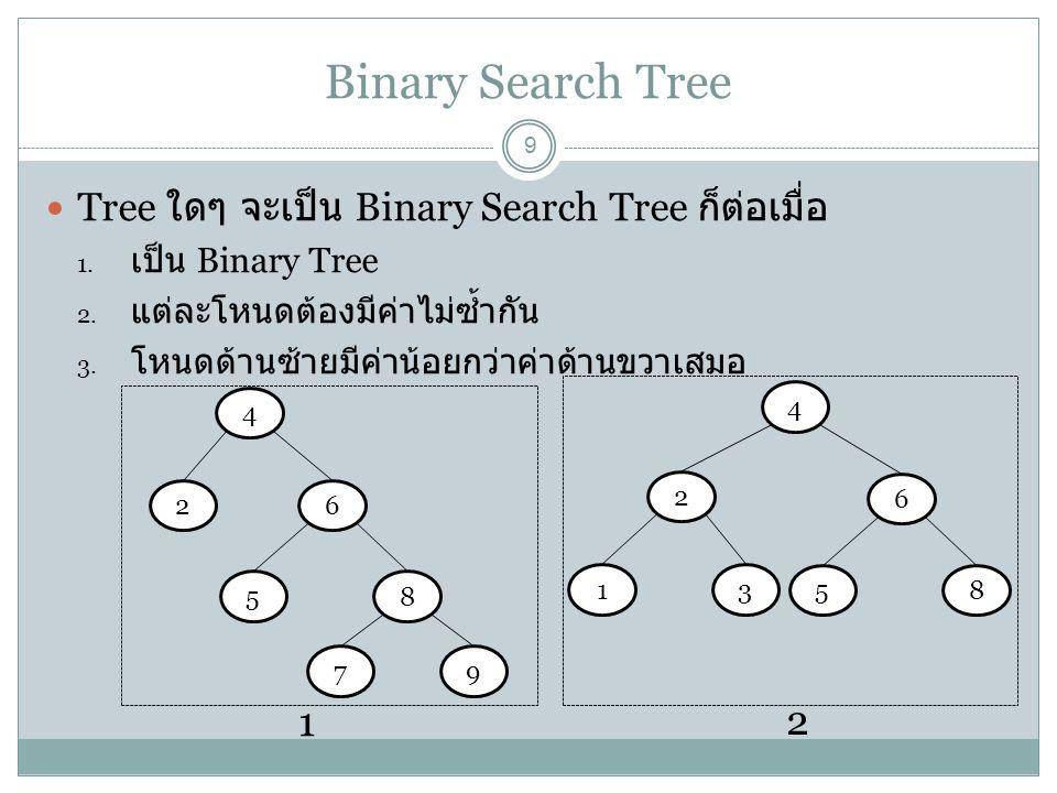 Binary Search Tree 9 Tree ใดๆ จะเป็น Binary Search Tree ก็ต่อเมื่อ 1. เป็น Binary Tree 2. แต่ละโหนดต้องมีค่าไม่ซ้ำกัน 3. โหนดด้านซ้ายมีค่าน้อยกว่าค่าด