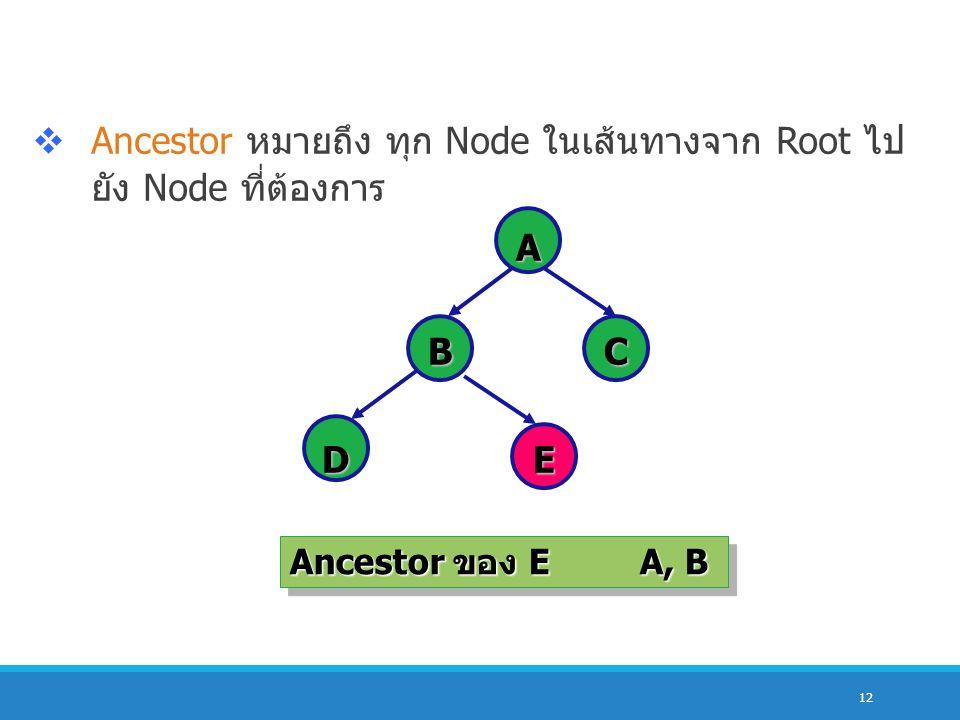 12  Ancestor หมายถึง ทุก Node ในเส้นทางจาก Root ไป ยัง Node ที่ต้องการ A BC DE Ancestor ของ EA, B Ancestor ของ EA, B