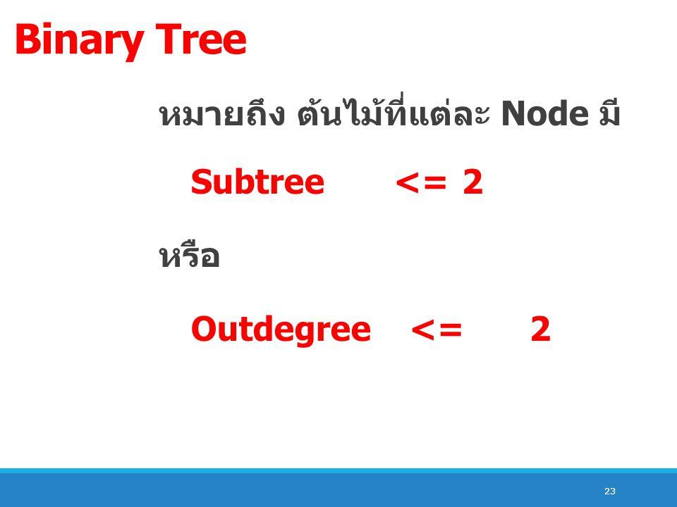 23 Binary Tree หมายถึง ต้นไม้ที่แต่ละ Node มี Subtree <= 2 หรือ Outdegree <= 2