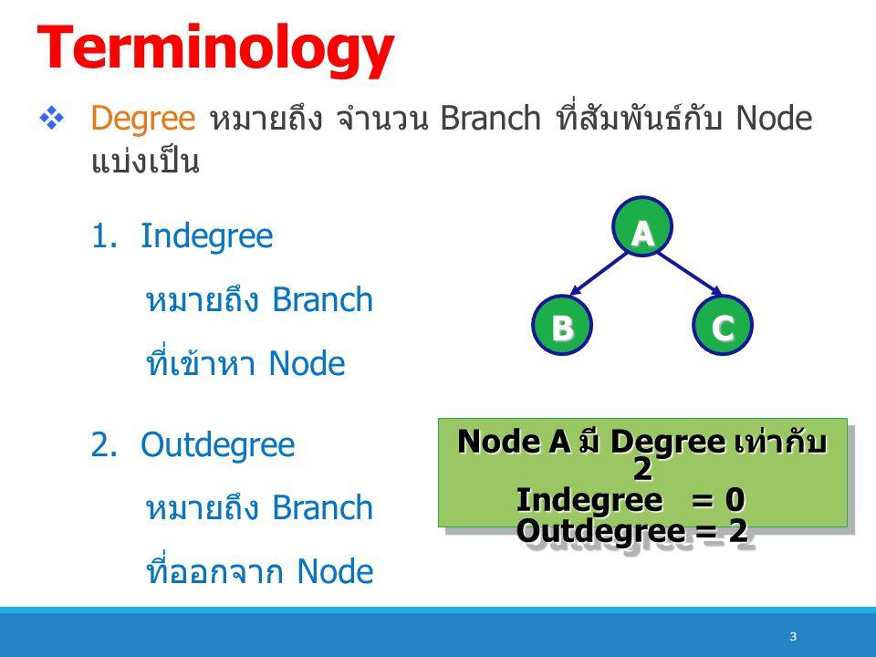 3  Degree หมายถึง จำนวน Branch ที่สัมพันธ์กับ Node แบ่งเป็น 1. Indegree หมายถึง Branch ที่เข้าหา Node 2. Outdegree หมายถึง Branch ที่ออกจาก Node A BC