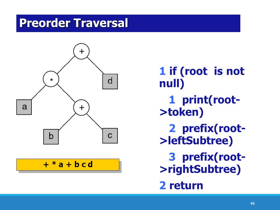 40 Preorder Traversal + * a + b c d 1 if (root is not null) 1 print(root- >token) 2 prefix(root- >leftSubtree) 3 prefix(root- >rightSubtree) 2 return