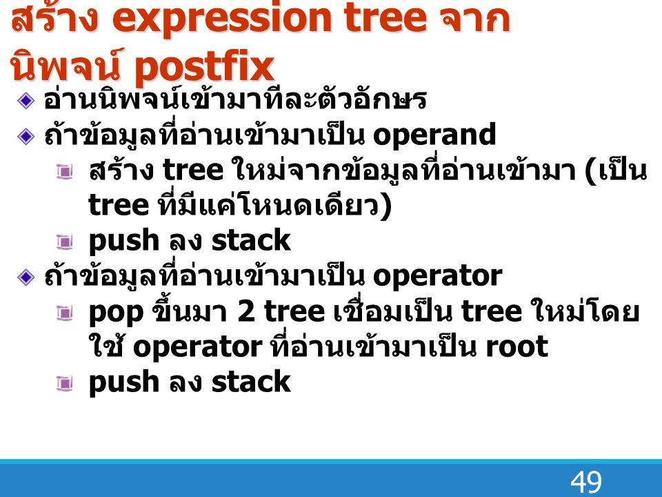 49 อ่านนิพจน์เข้ามาทีละตัวอักษร ถ้าข้อมูลที่อ่านเข้ามาเป็น operand สร้าง tree ใหม่จากข้อมูลที่อ่านเข้ามา ( เป็น tree ที่มีแค่โหนดเดียว ) push ลง stack ถ้าข้อมูลที่อ่านเข้ามาเป็น operator pop ขึ้นมา 2 tree เชื่อมเป็น tree ใหม่โดย ใช้ operator ที่อ่านเข้ามาเป็น root push ลง stack สร้าง expression tree จาก นิพจน์ postfix