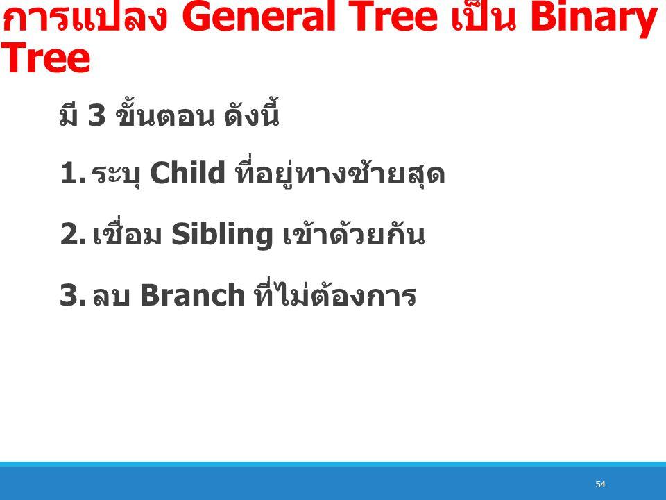 54 การแปลง General Tree เป็น Binary Tree มี 3 ขั้นตอน ดังนี้ 1. ระบุ Child ที่อยู่ทางซ้ายสุด 2. เชื่อม Sibling เข้าด้วยกัน 3. ลบ Branch ที่ไม่ต้องการ