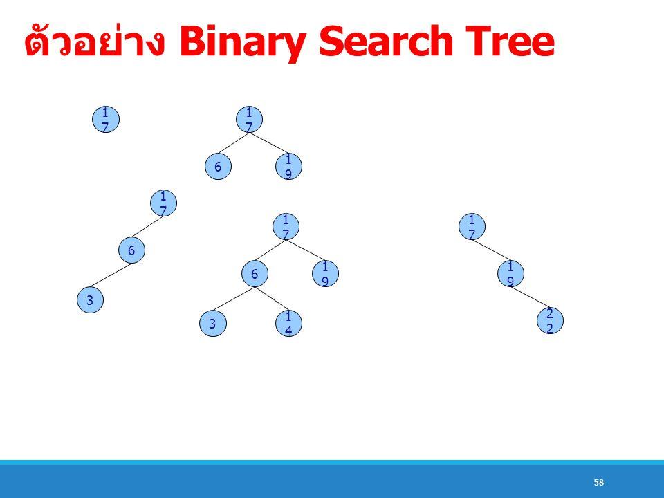 58 ตัวอย่าง Binary Search Tree 1717 1717 6 1919 1717 6 3 1717 6 3 1919 1414 1717 1919 2