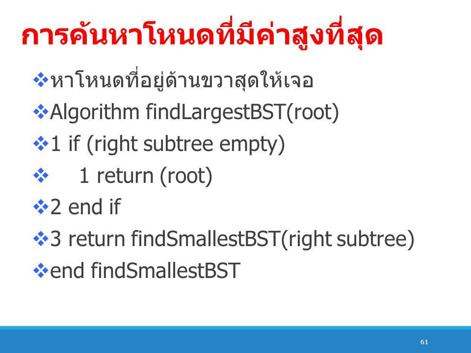 61 การค้นหาโหนดที่มีค่าสูงที่สุด  หาโหนดที่อยู่ด้านขวาสุดให้เจอ  Algorithm findLargestBST(root)  1 if (right subtree empty)  1 return (root)  2 end if  3 return findSmallestBST(right subtree)  end findSmallestBST