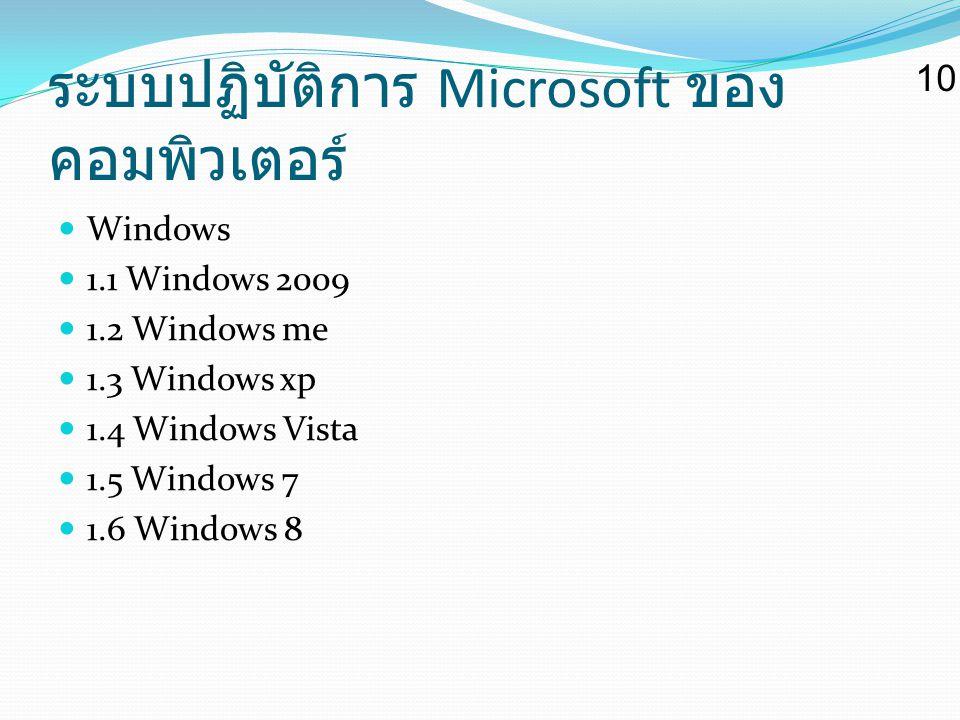 ระบบปฏิบัติการ Microsoft ของ คอมพิวเตอร์ Windows 1.1 Windows 2009 1.2 Windows me 1.3 Windows xp 1.4 Windows Vista 1.5 Windows 7 1.6 Windows 8 10