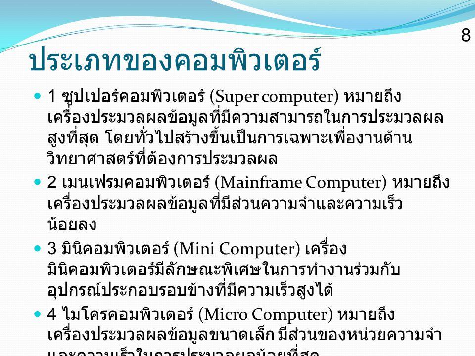 ประเภทของคอมพิวเตอร์ 1 ซูปเปอร์คอมพิวเตอร์ (Super computer) หมายถึง เครื่องประมวลผลข้อมูลที่มีความสามารถในการประมวลผล สูงที่สุด โดยทั่วไปสร้างขึ้นเป็น