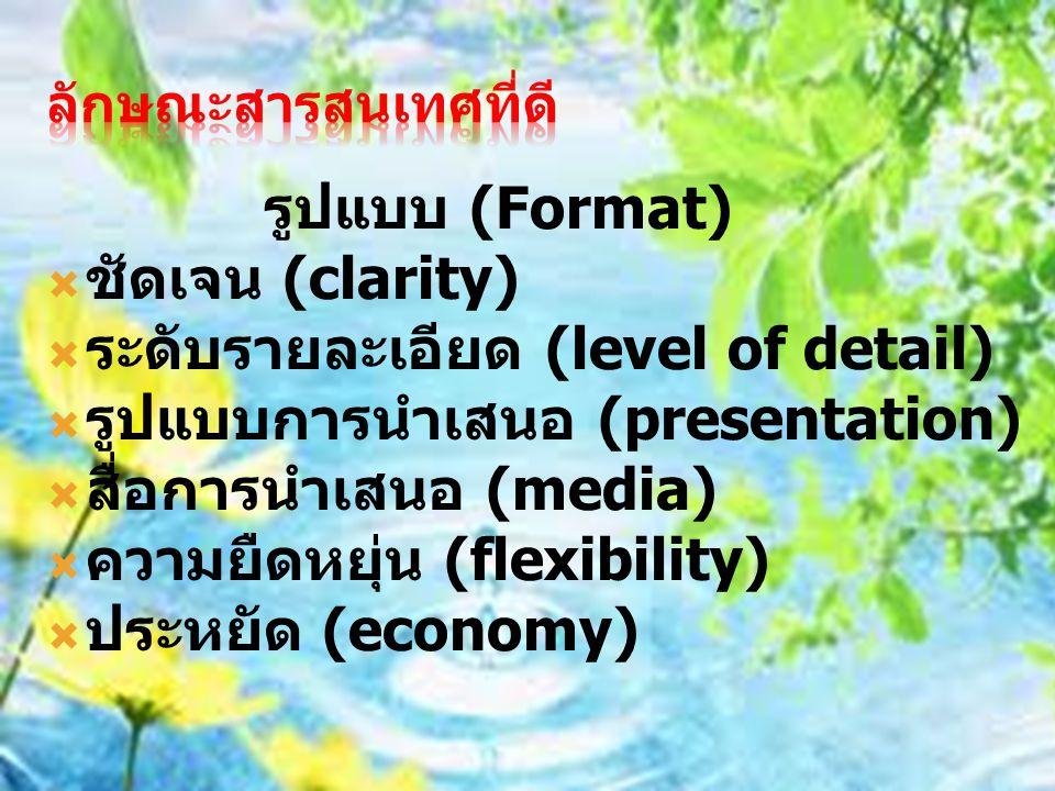 รูปแบบ (Format)  ชัดเจน (clarity)  ระดับรายละเอียด (level of detail)  รูปแบบการนำเสนอ (presentation)  สื่อการนำเสนอ (media)  ความยืดหยุ่น (flexib