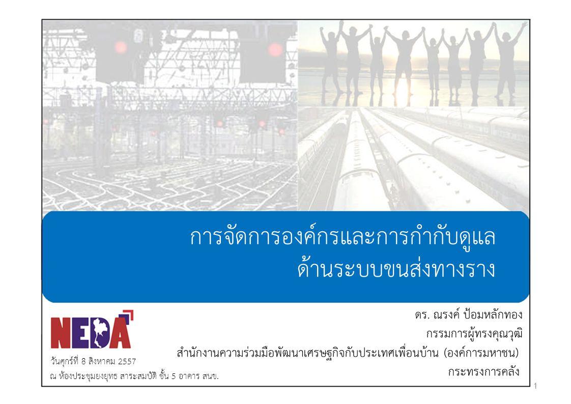 การจัดการองค์กรและการกำกับดูแล ด้านระบบขนส่งทางราง ดร. ณรงค์ ป้อมหลักทอง กรรมการผู้ทรงคุณวุฒิ สำนักงานความร่วมมือพัฒนาเศรษฐกิจกับประเทศเพื่อนบ้าน (องค